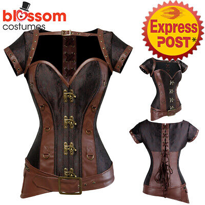 CC72 Brown Black Steampunk Overbust Boned Corset Leather Gothic Halloween Top