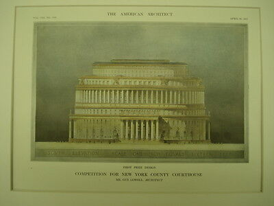 First Prize, New York County Courthouse Design, New York, NY, 1913,Original Plan