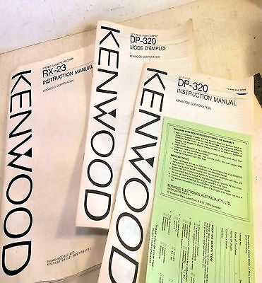 Kenwood Instruction Manual for RX-23 Stereo Cassette Receiver & DP 320 CD (4460)