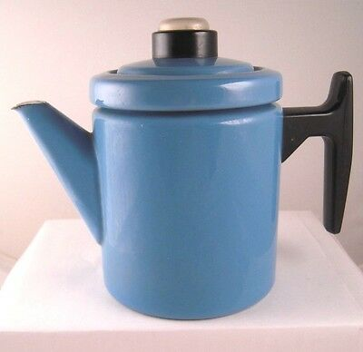 Finel Arabia Finland Enamel Coffee Pot Antti Nurmesniemi Blue MCM No Percolator