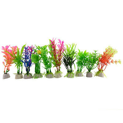 10x Herbe En Plastique Aquarium Simulation Plante Ornement Décoration 1 Lot