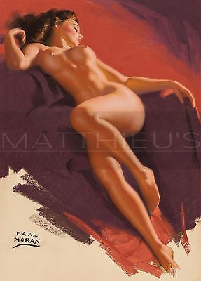 Earl Moran-Reclining Brunette, Canvas/Paper Print, Pinup Girl