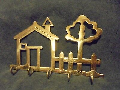 Vintage Brass Hook Wall Mount Key Holder House And Tree/size 8 1/4 X 5 1/4-B98