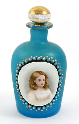 Bohemian satin finish perfume, portrait cabochon of young girl, ca 1860s [10890]