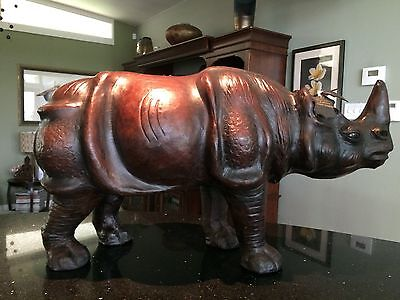 Vintage All Leather Rhino - very lifelike....so much detail