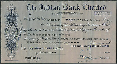 Singapore 1952 Indian Bank chek cheque