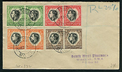 South West Africa 1937 Coronation 4vr egistered FDC
