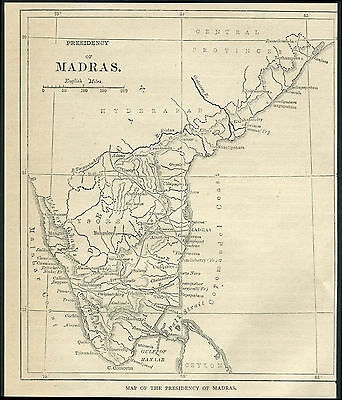 India 1880 engraving MAP OF THE PRESIDENCY OF MADRAS. Printed on back 6''x6.5''