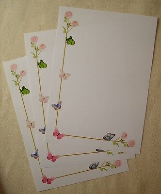 Wild Pink Roses & Butterflies Letter Writing Paper & Envelopes Stationery Set