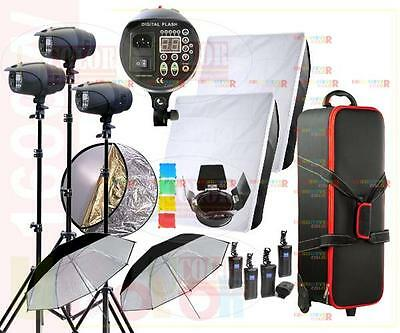1600W Studio Strobe Flash Light Kit 4 x 400W Fan Cooled Monolight Lighting