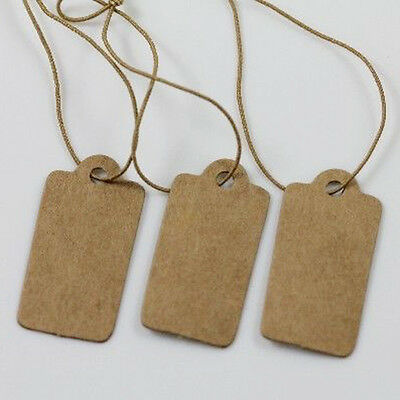 Hot! 100X Jewelry Price Label Tags Blank Kraft Paper With Elastic String 30mm