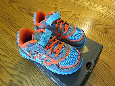Under Armour UA Engage Toddler Boy's Size 4 Shoes Blue/orange/gray NIB