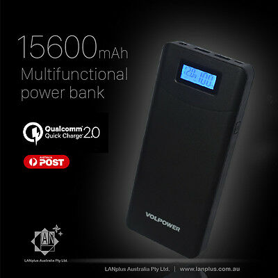 QC2.0 15600mah Multifunction Dual USB LCD Power Bank Car Jump Starter Laptop