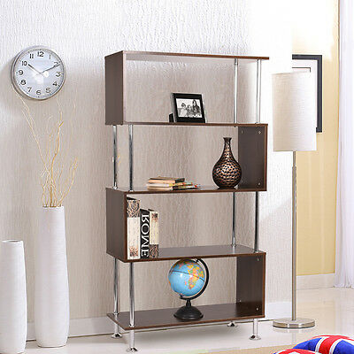 Wood Storage Bookcase Bookshelf S Display Shelf Room Dividers S Shape Furniture