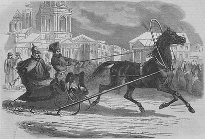 ST. PETERSBURG. The Emperor of Russia, in his Droshky (sledge) . Russia, 1853