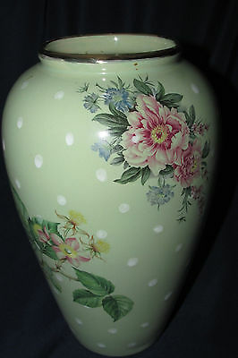 Robert Gordon Pottery TALL VASE Green White Polka Dots Rose Floral Spray 22CmT
