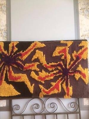 Vintage Retro Hand Woven Rug Mounted To Board Wall Hanging