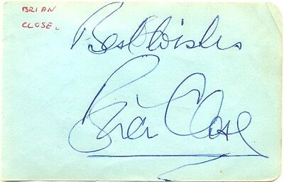 Brian Close signed autograph album page 1960s English cricketer Yorkshire MCC