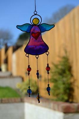 Stained Glass Colourful Angel With Beads Hanging Sun Catcher Home - Window Decor