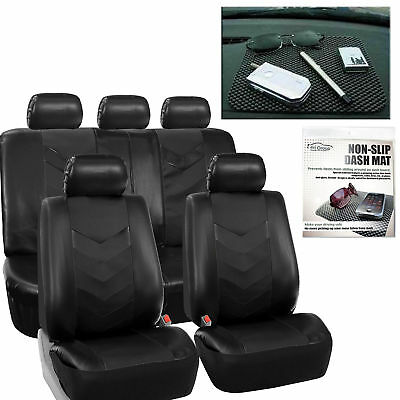 Faux Leather Car Seat Covers Luxury Set Black Free Gift Dash Grip Pad