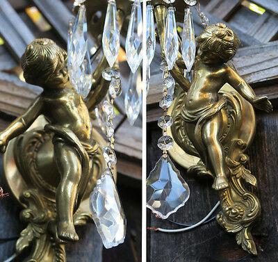 Pair Vintage gilt bronze Italy cherub crystal sconces lamp brass wall mount