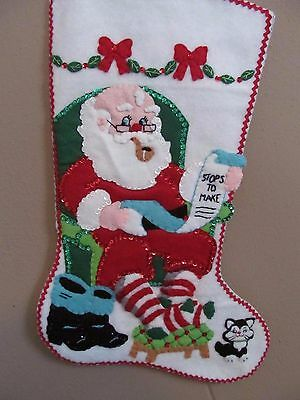 """NEWLY FINISHED COMPLETED Bucilla """" He's Making a List"""" Felt Christmas Stocking"""