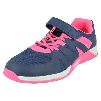 5cd6cd4f357 Senior Girls Clarks Riptape Casual Walking Sports Trainers Shoes Size Trace  Star