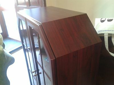 Glass cabinet, vintage, mahogany, book case or wine bottle display, clean inside