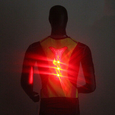 LED Light Safety Vest Jacket for Night Sports Running Cycling Breathable