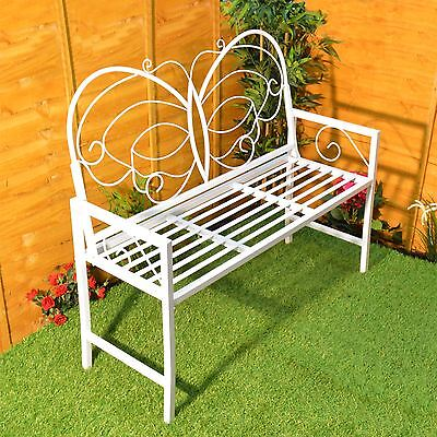 Butterfly Garden Bench Metal Patio Furniture Seat Outdoor Decorative Backrest