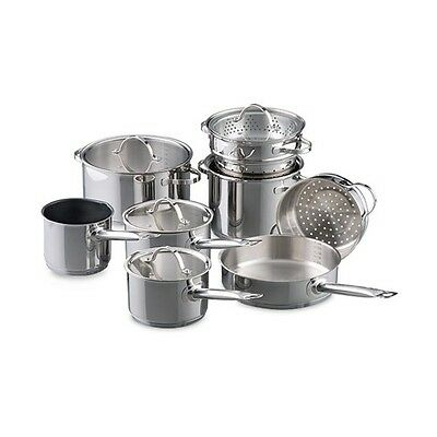 New Baccarat Signature Stainless Steel 9 Piece Cookset + FREE Baccarat Sharpener