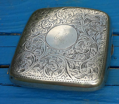 Acanthus scroll leaves hallmarked 1939 silver cigarette case EW