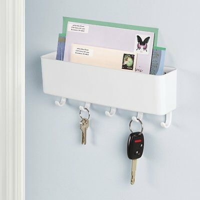 Wall Wounted Letter Holder Rack Key Hooks  House Storage Organiser White