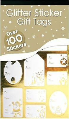 100 Luxury Silver Gold Labels Christmas Sticker Gift Tags Name Xmas Present Wrap