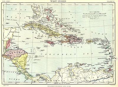 CARIBBEAN. West Indies & Central America. Britannica 9th edition 1898 old map