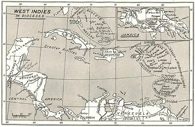 WEST INDIES. West Indies in Dioceses; USA Bishoprics Church of England 1922 map