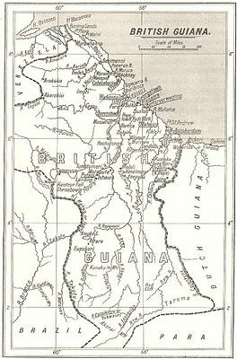 GUYANA. Guyana; S. P. G. Mission Stations are underlined.  1922 old map