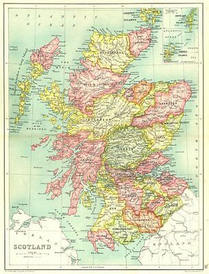 SCOTLAND. Showing counties. Inset Shetland & Orkney Islands 1909 old map