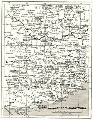 SOUTH AFRICA. Diocese of Grahamstown; Mission stations Anglican 1922 old map