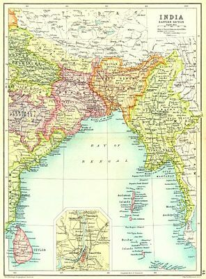 INDIA EAST BURMA CEYLON BENGAL. Calcutta Kolkata. Sri Lanka Bangladesh 1909 map