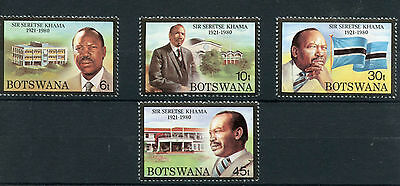Botswana 1981 MNH President Sir Seretse Khama Death Anniv 4v Set Flags Stamps