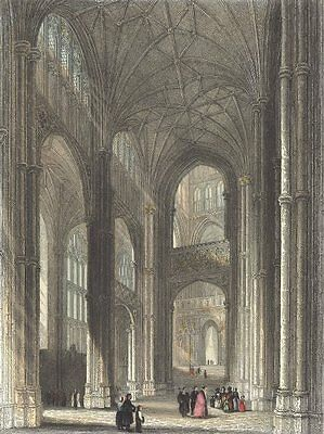 KENT. Canterbury cathedral. the Nave.  1836 old antique vintage print picture