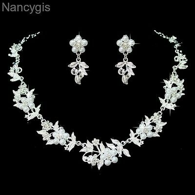 White Silver Crystal Pearl Flower Necklace and Earrings Wedding Jewellery Set