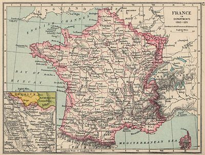FRANCE. in Departments 1860-1871 1907 old antique vintage map plan chart