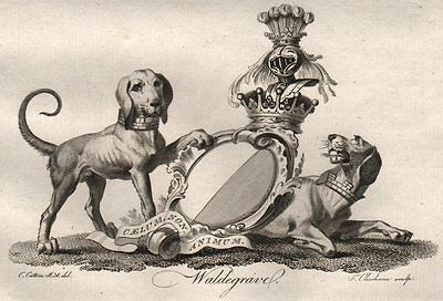 WALDEGRAVE. Coat of Arms. Heraldry 1790 old antique vintage print picture