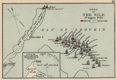 BATTLE OF THE NILE 1798. Aboukir Bay.French Revolutionary Wars. SMALL 1907 map