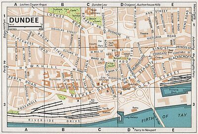 DUNDEE. Vintage town city map plan. Scotland 1967 old vintage chart