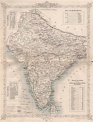 BRITISH INDIA. Railways. Military bases. Mutiny events. TALLIS/RAPKIN 1858 map