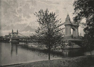 Hammersmith Bridge, from the South side. London 1896 old antique print picture
