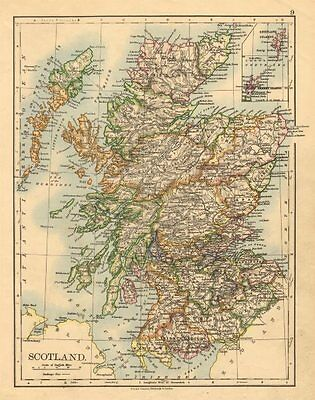 SCOTLAND. Counties. Undersea telegraph cables. JOHNSTON 1897 old antique map